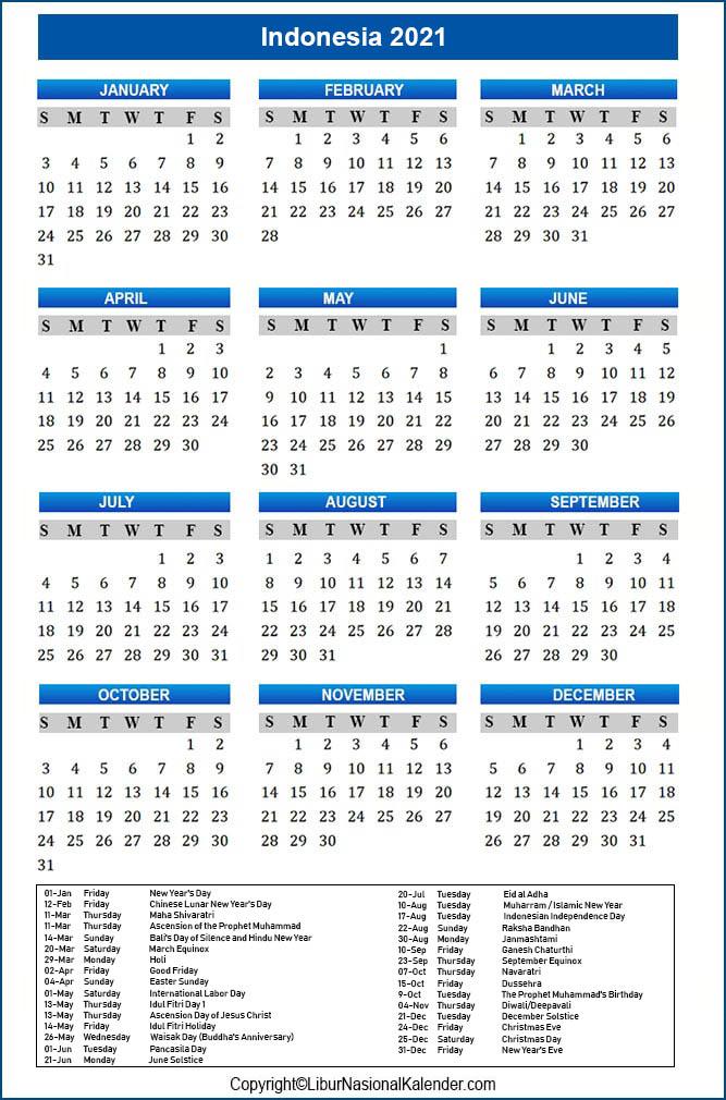 Calendar 2021 Indonesia Public Holidays 2021