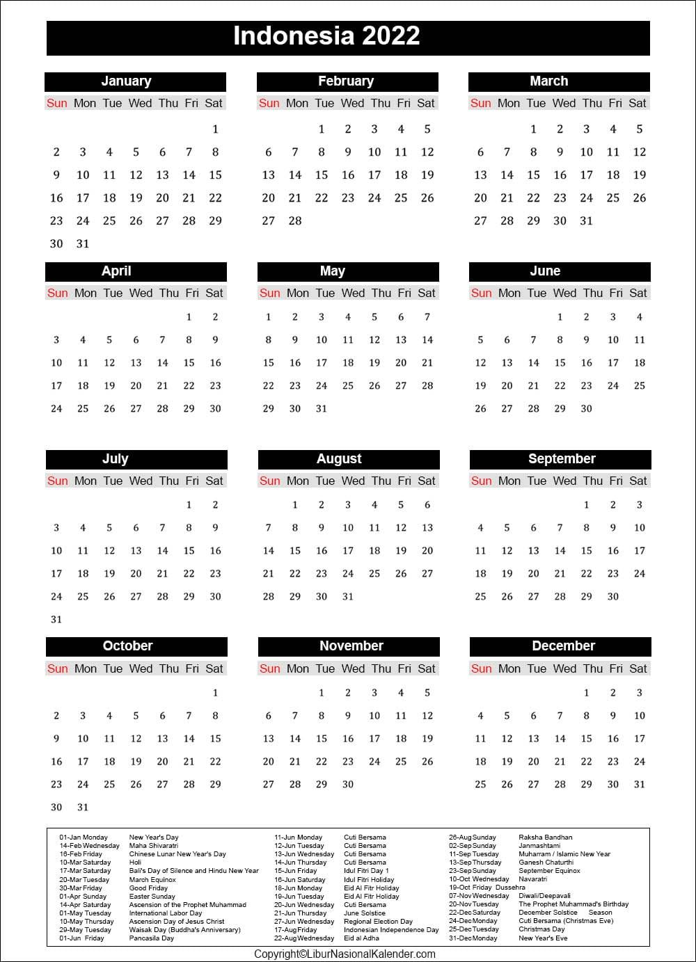 Calendar 2022 Indonesia