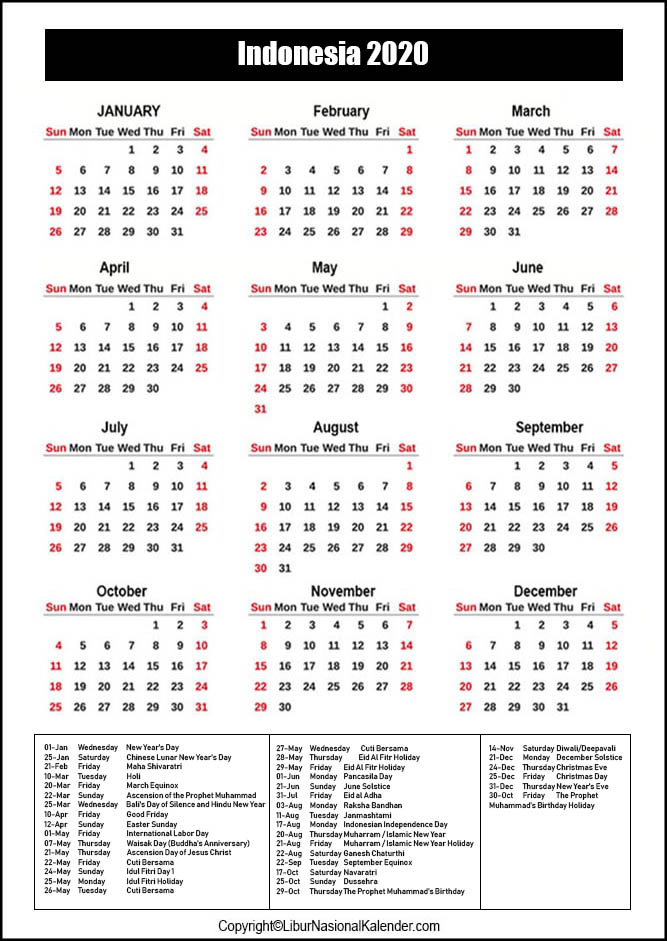Indonesia Calendar 2020 with Holiday