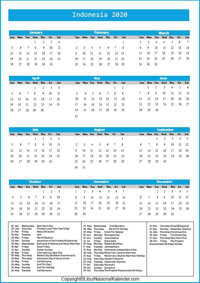 Indonesia Calendar 2020