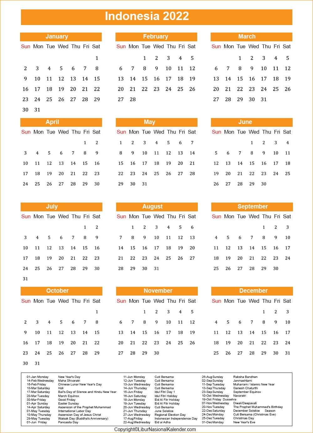 Indonesia Calendar 2022 with Holiday