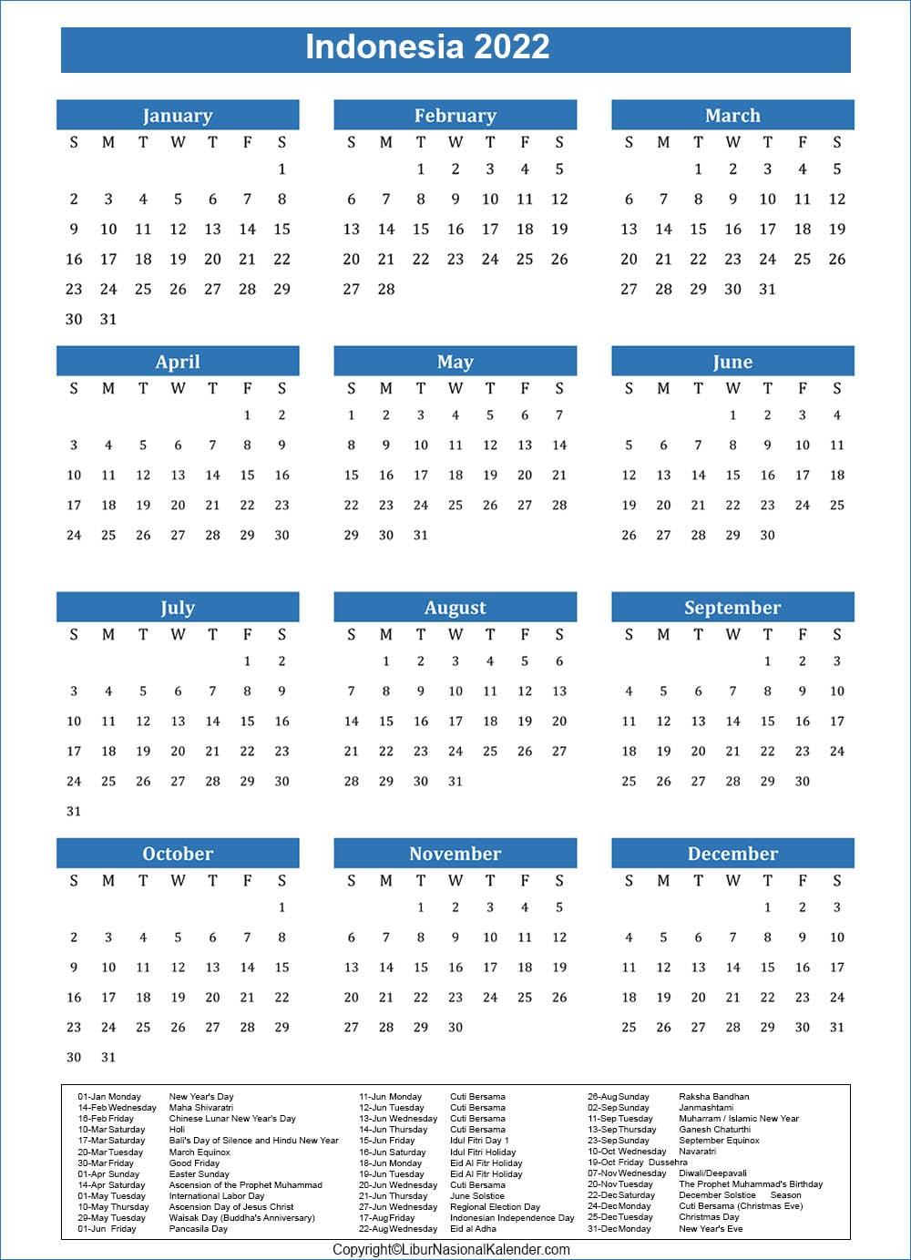Indonesia Calendar 2022