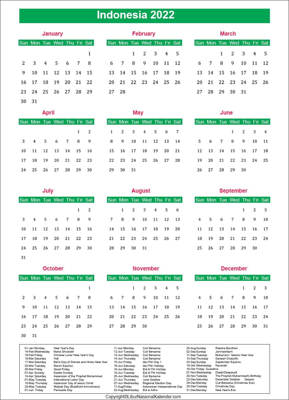 Indonesia Holiday Calendar 2022