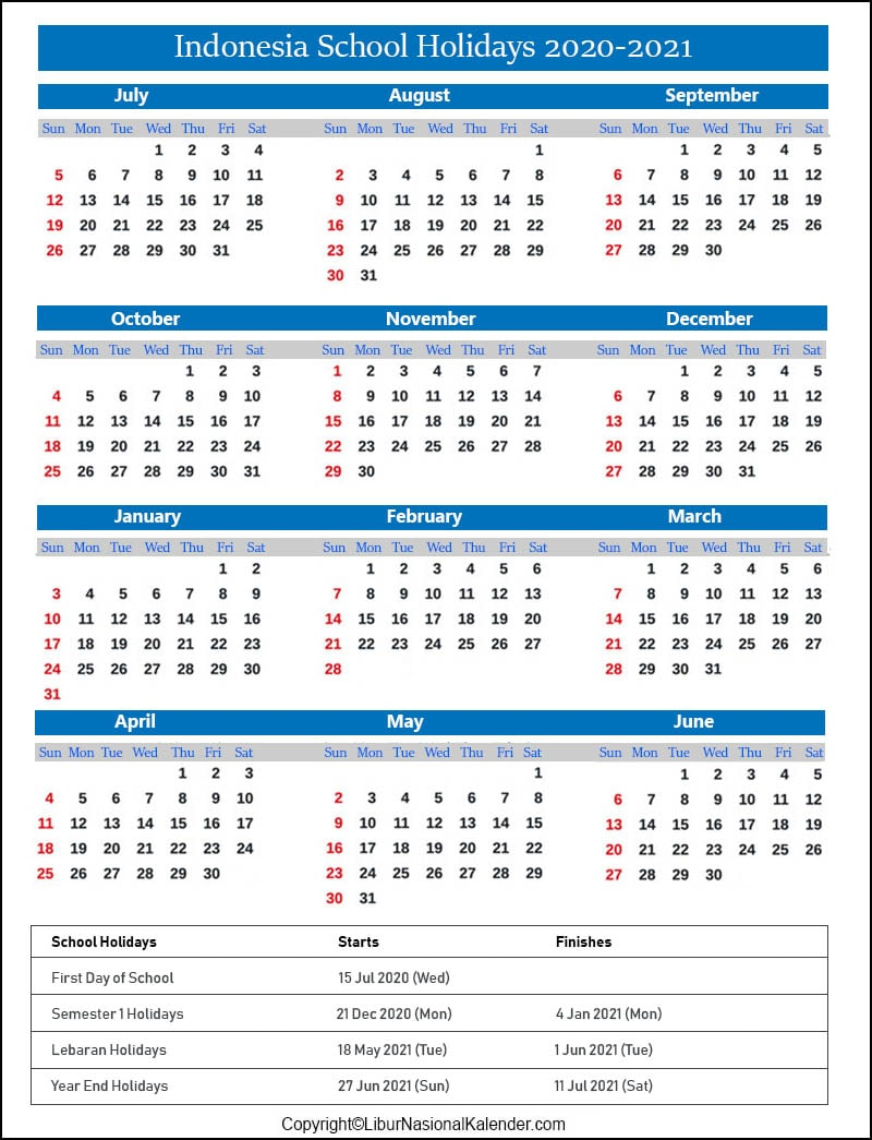 Indonesia School Calendar 2020