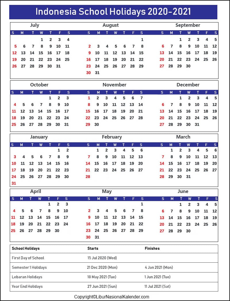 Indonesian School Holiday Calendar 2020