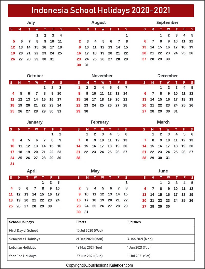 School Calendar 2020 Indonesia