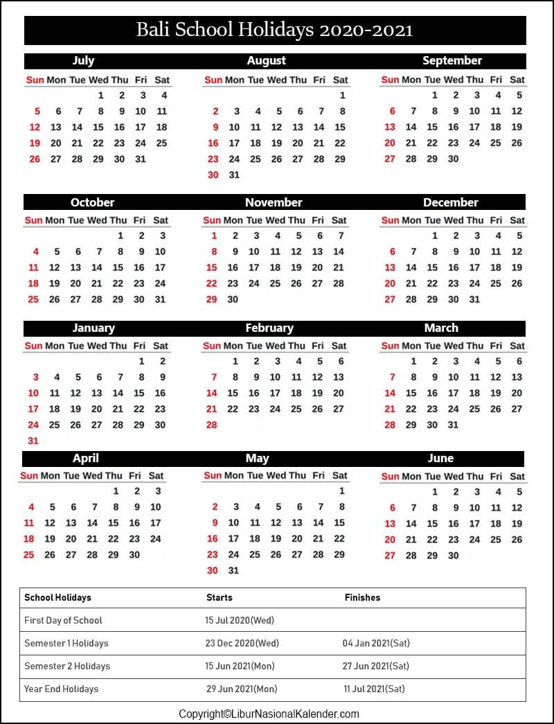 Bali School Holidays 2020-2021