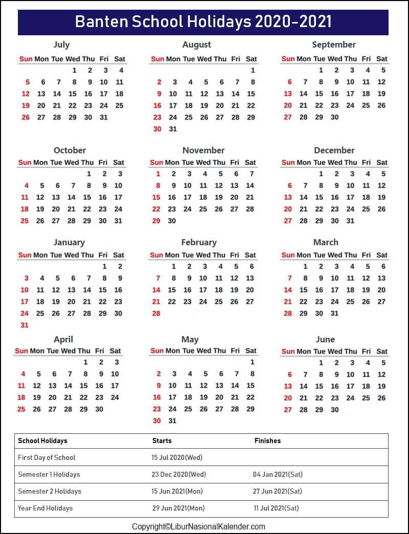 Banten Calendar 2020-2021 With School Holidays