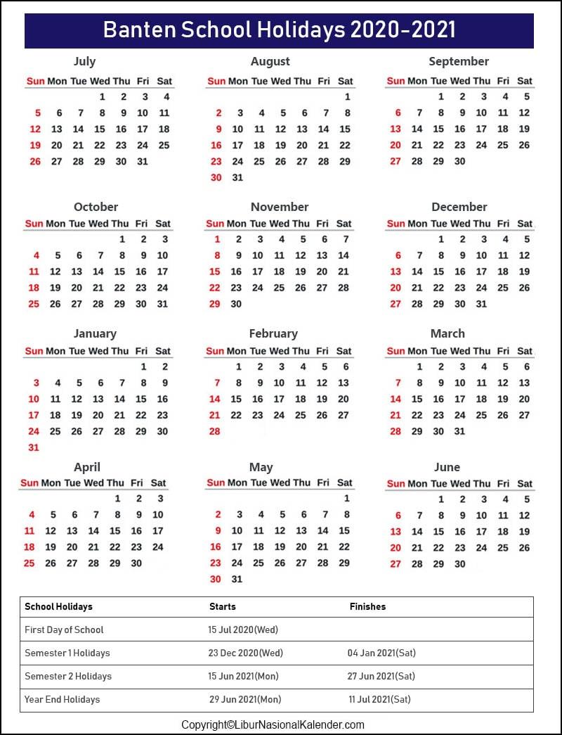 Banten Calendar 2020-2021 With School Holidays