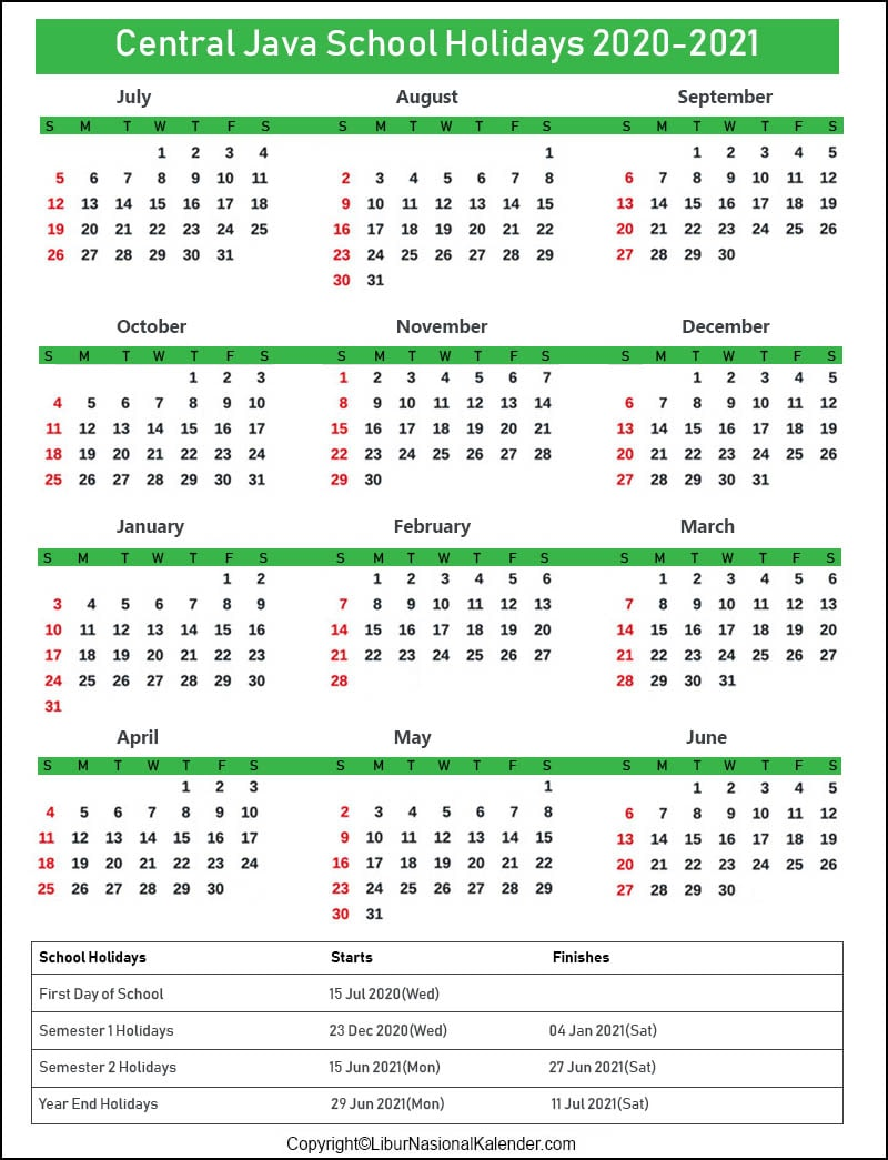 Central Java Calendar 2020-2021 With School Holidays