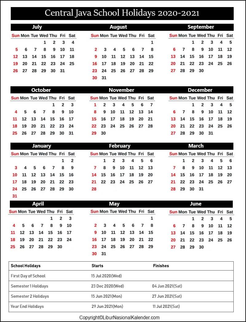 Central Java School Calendar 2020-2021