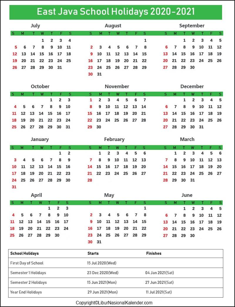 East Java Calendar 2020-2021 With School Holidays