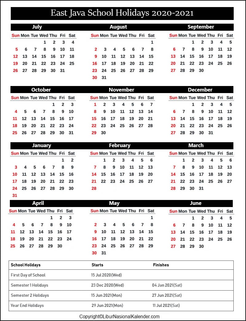 East Java School Calendar 2020-2021