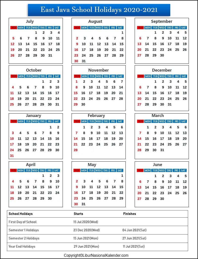 East Java School Holidays 2020-2021 Indonesia