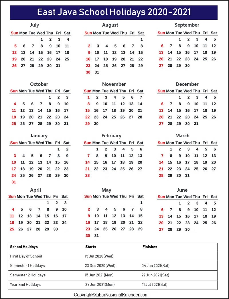 East Java School Holidays 2020-2021