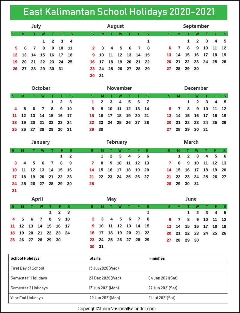East Kalimantan Calendar 2020-2021 With School Holidays