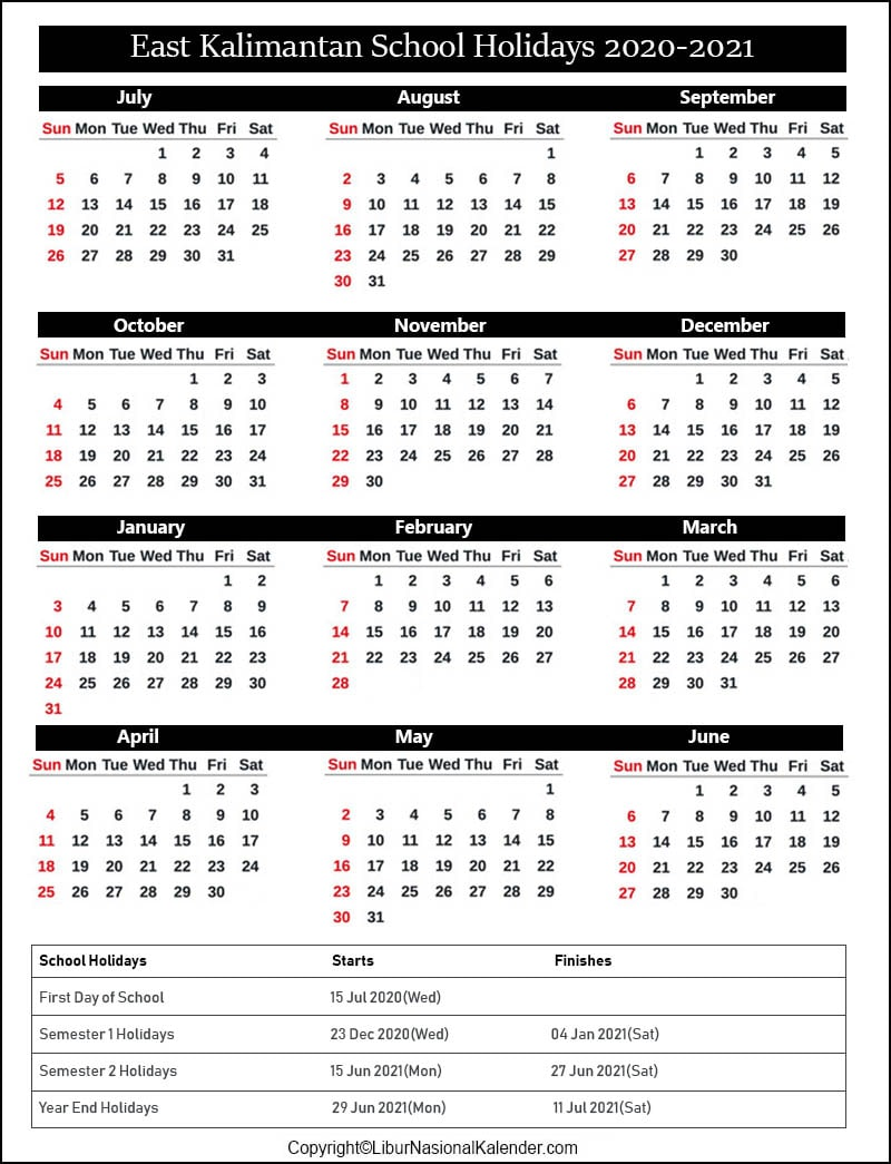 East Kalimantan School Calendar 2020-2021