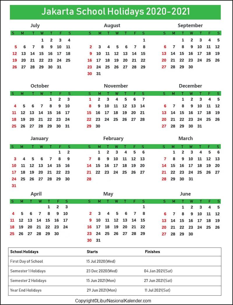 Jakarta Calendar 2020-2021 With School Holidays