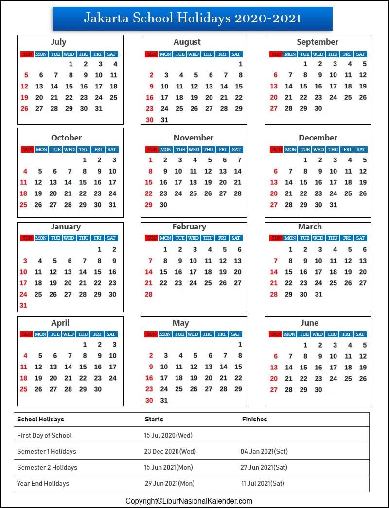Jakarta School Holidays 2020-2021 Indonesia