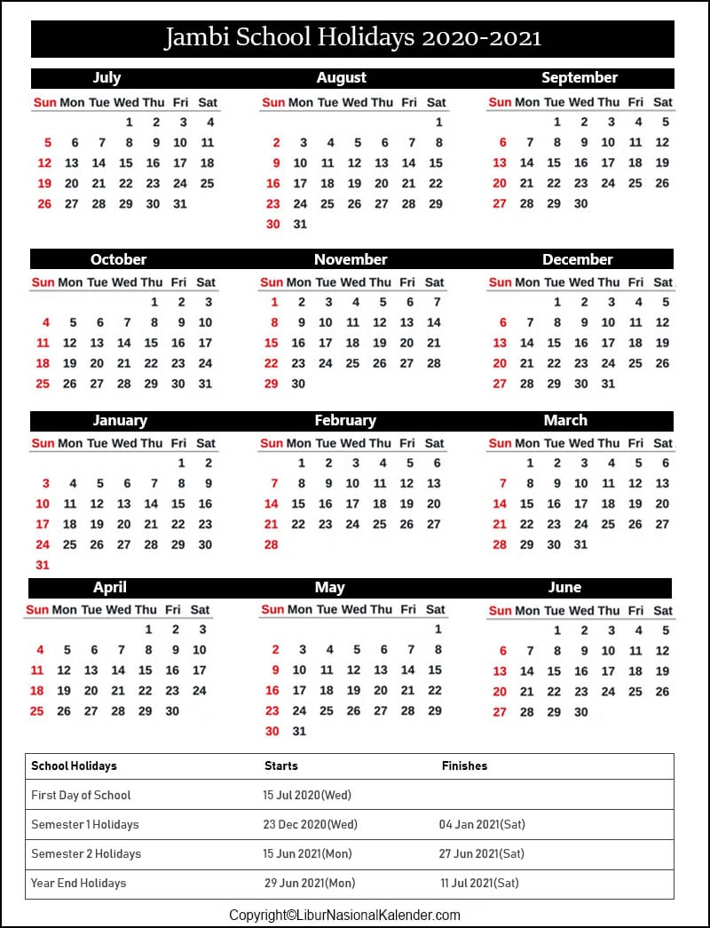 Jambi School Calendar 2020-2021