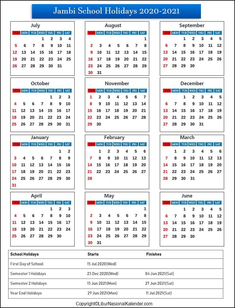Jambi School Holidays 2020-2021 Indonesia