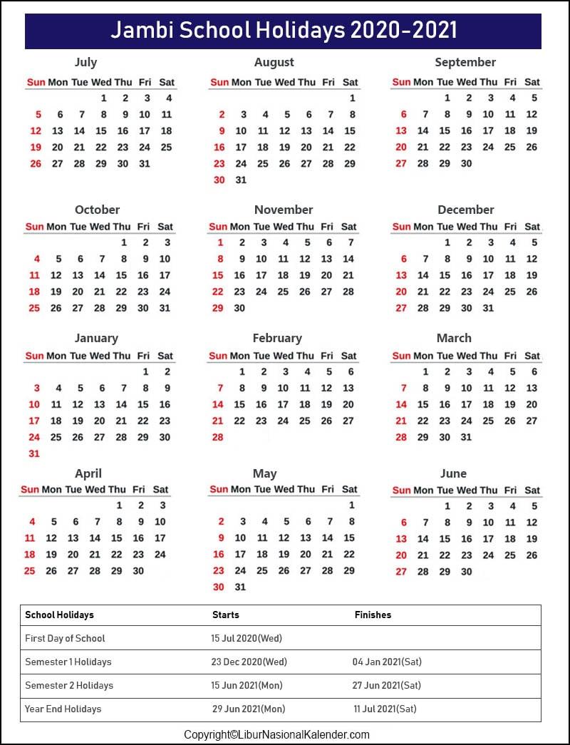 Jambi School Holidays 2020-2021