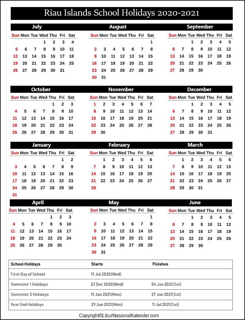 Riau Islands School Calendar 2020-2021