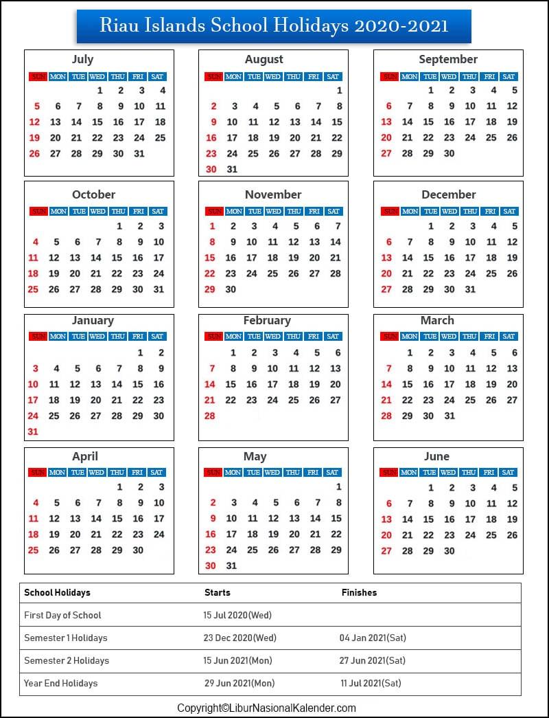 Riau Islands School Holidays 2020-2021 Indonesia