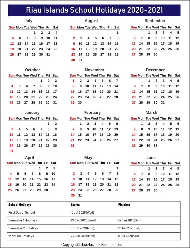 Riau Islands School Holidays 2020-2021