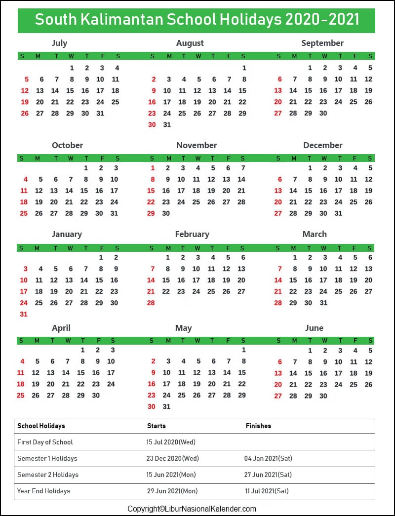South Kalimantan Calendar 2020-2021 With School Holidays