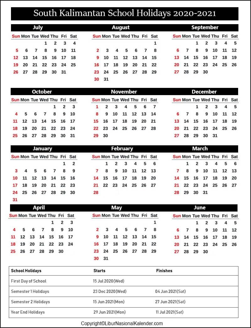 South Kalimantan School Calendar 2020-2021