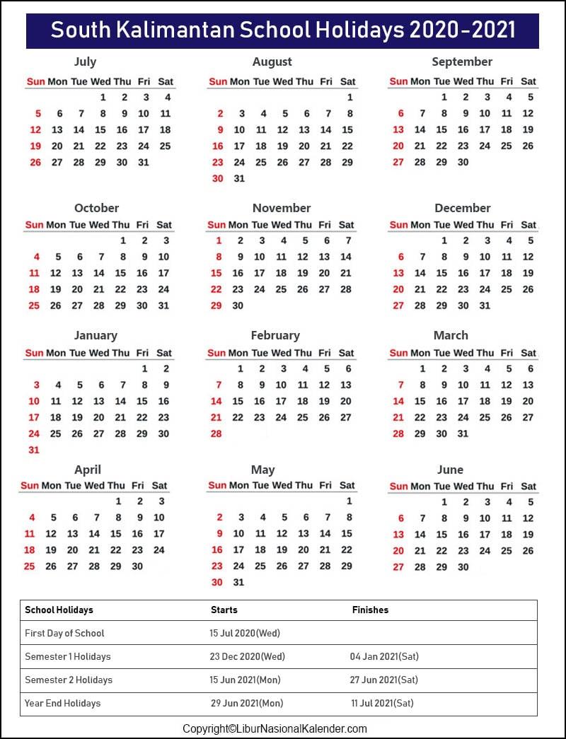 South Kalimantan School Holidays 2020-2021