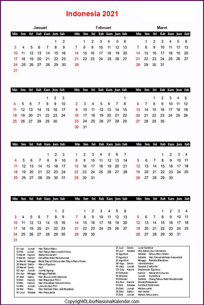 Cetak Indonesia 2021 Kalender