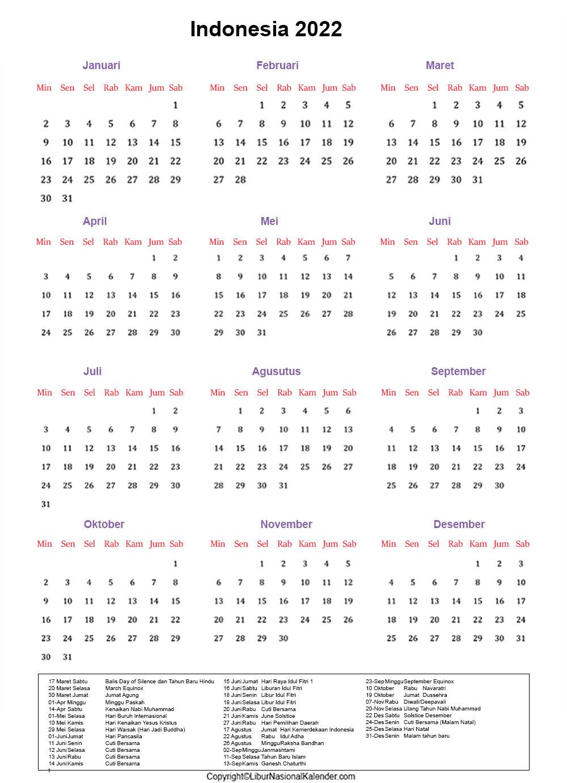 Cetak Indonesia 2022 Kalender