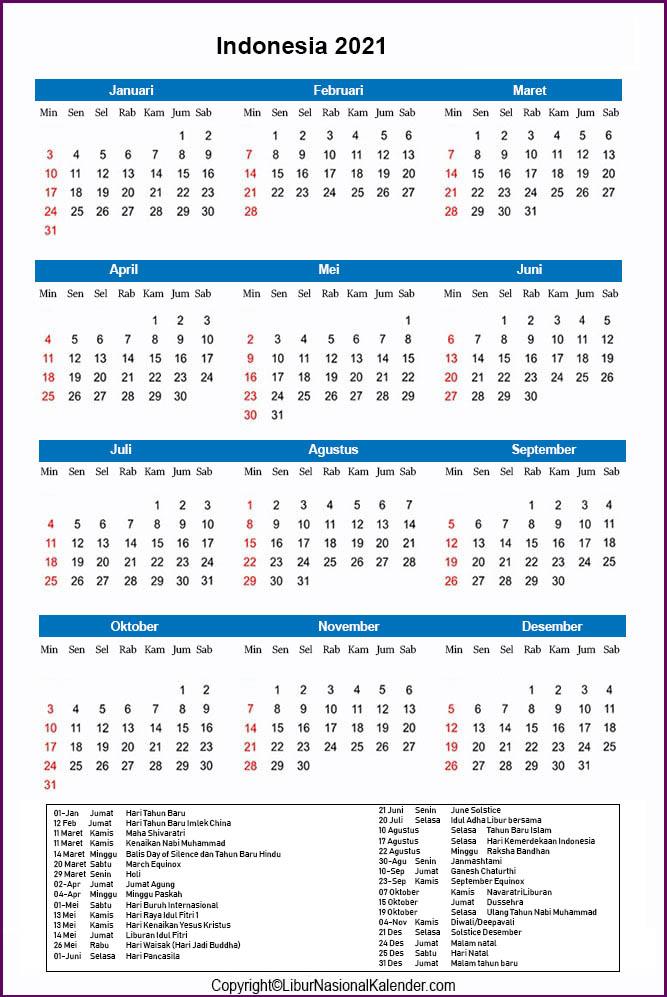 Hari Libur Nasional 2021 Kalender 2021 Cuti Bersama Indonesia