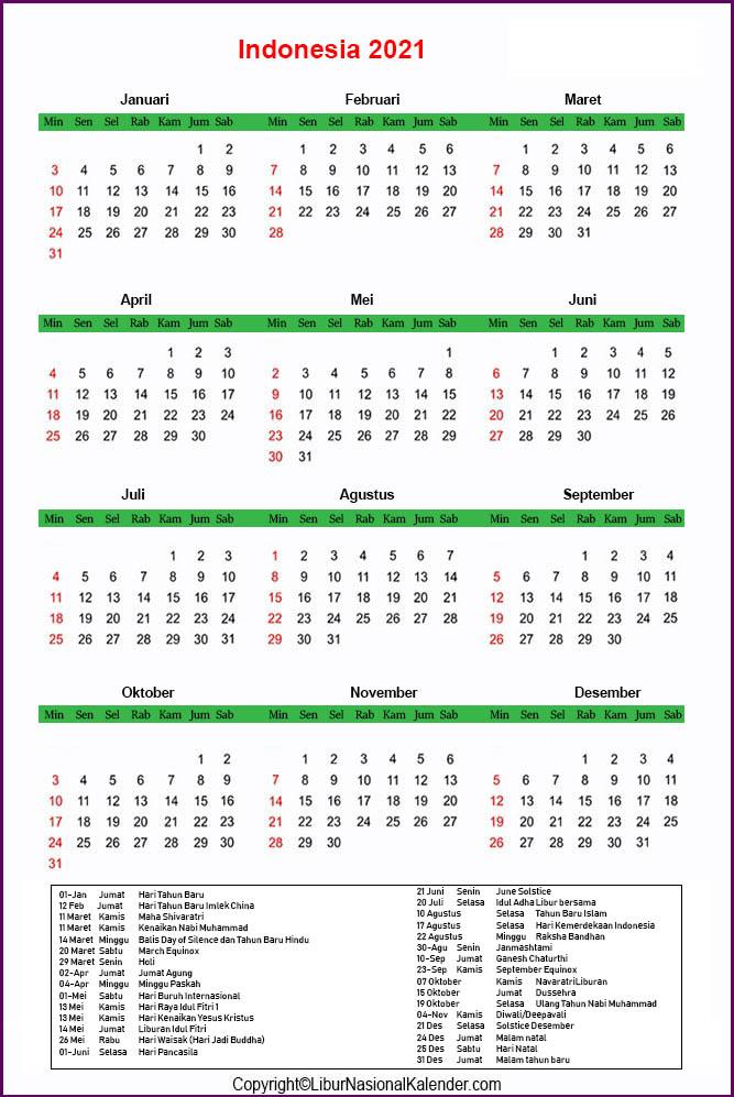 Indonesia 2021 Libur Kalender