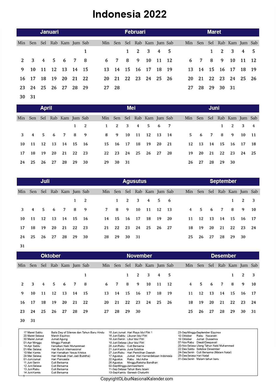 Indonesia 2022 Kalender