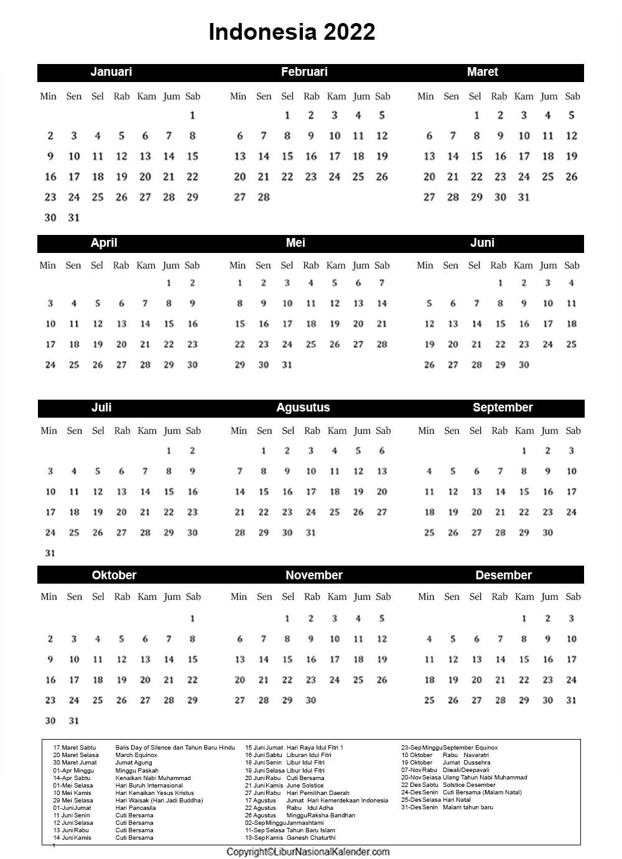 Indonesia 2022 Libur Kalender