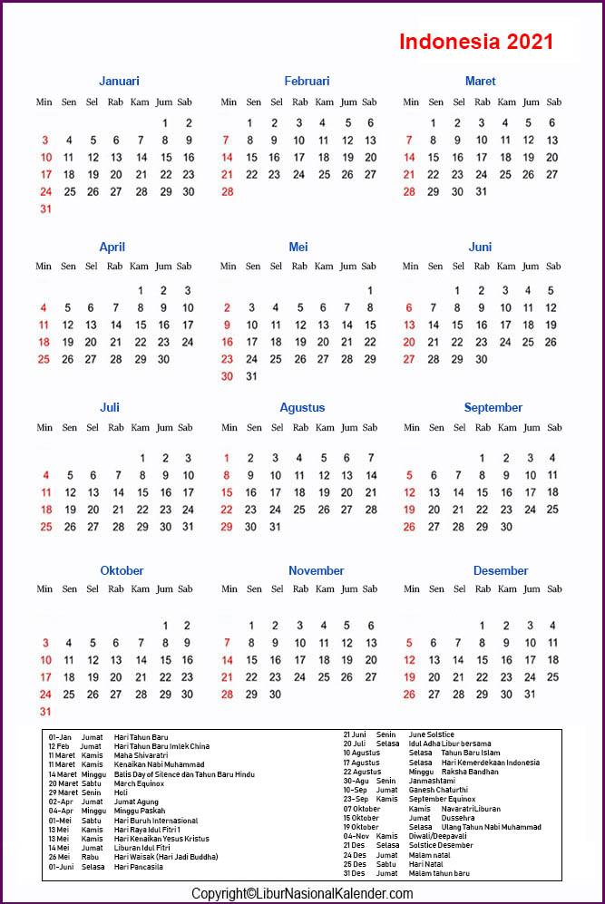 Indonesia Kalender 2021
