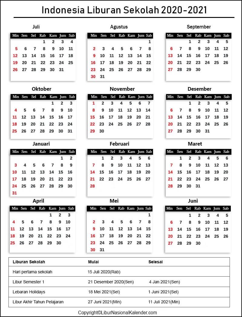 Indonesia Sekolah Kalender 2020