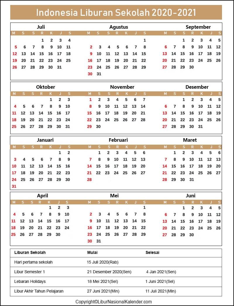 Indonesia Sekolah Liburan Kalender 2020