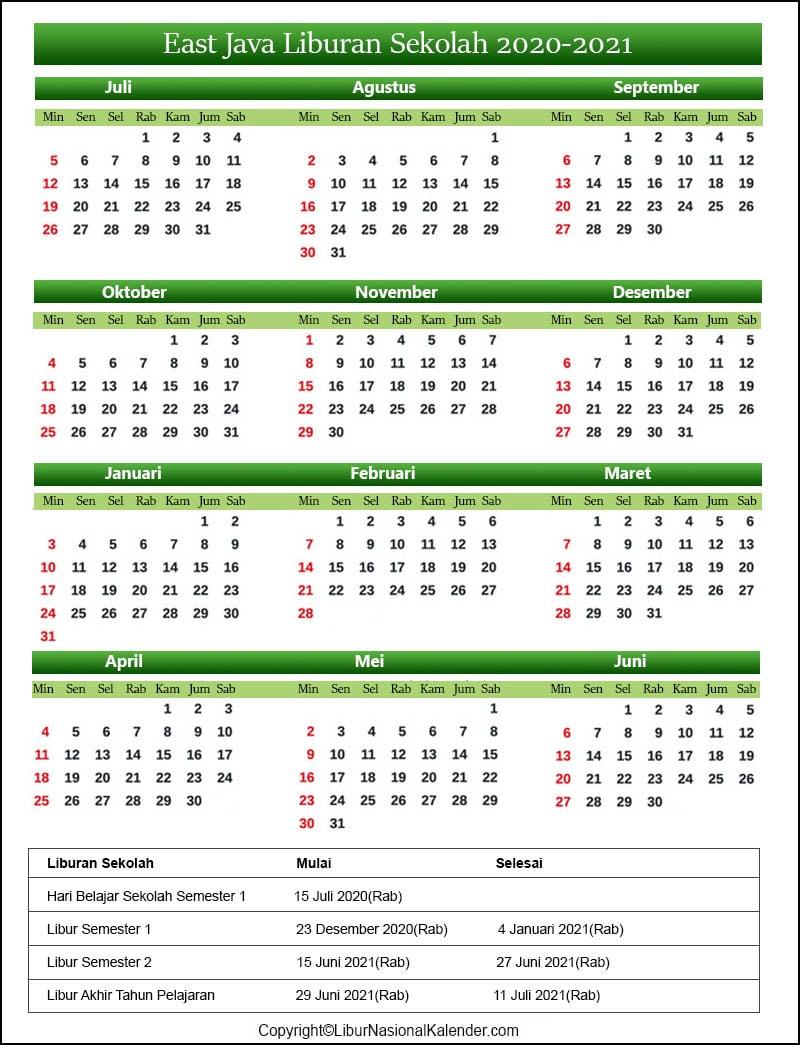 Kalender East Java 2020-2021 Dengan Libur Sekolah