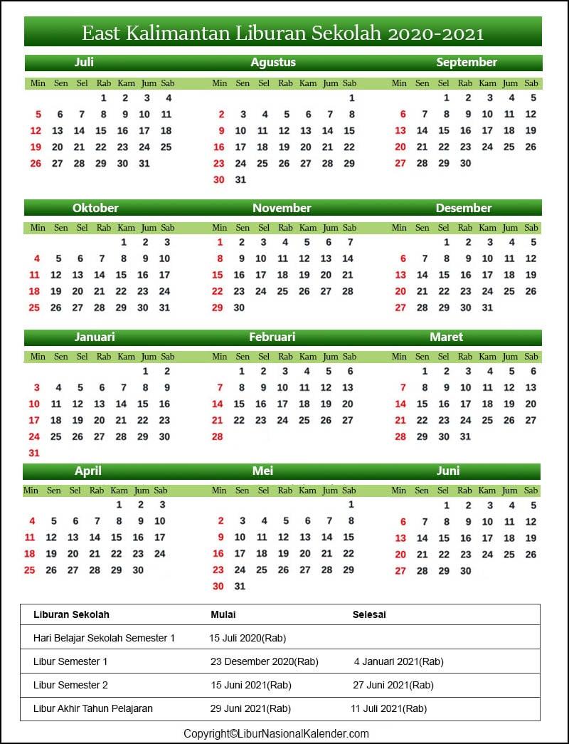 Kalender East Kalimantan 2020-2021 Dengan Libur Sekolah