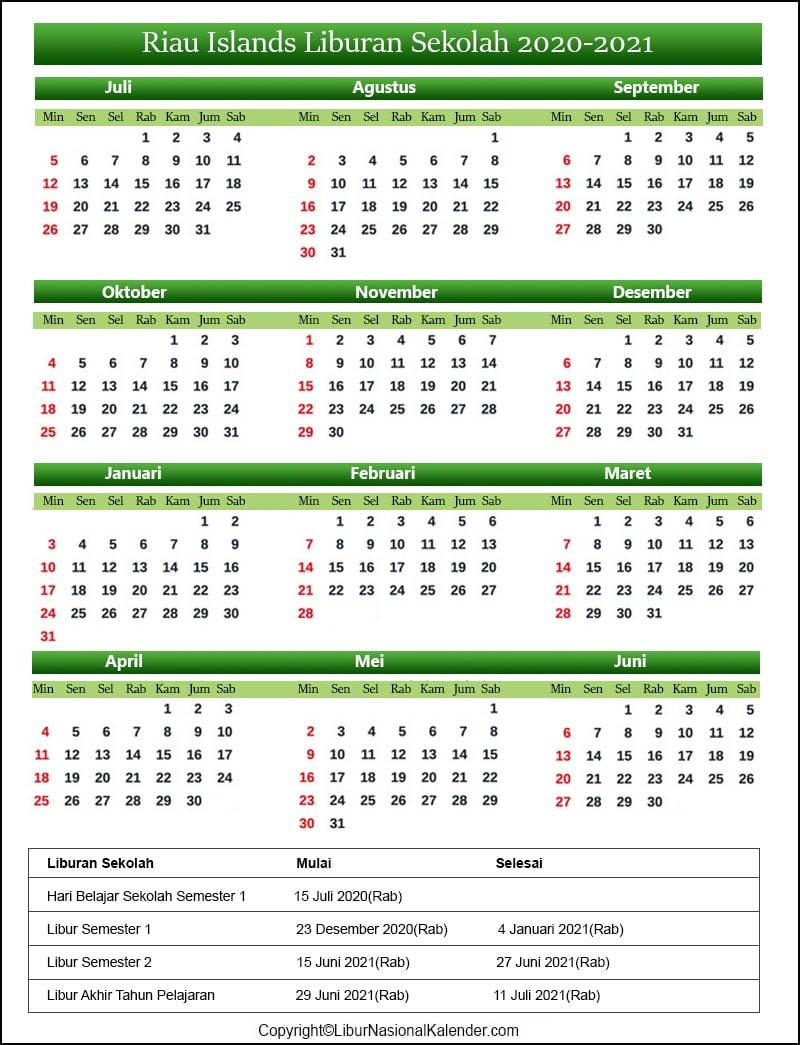 Kalender Riau Islands 2020-2021 Dengan Libur Sekolah