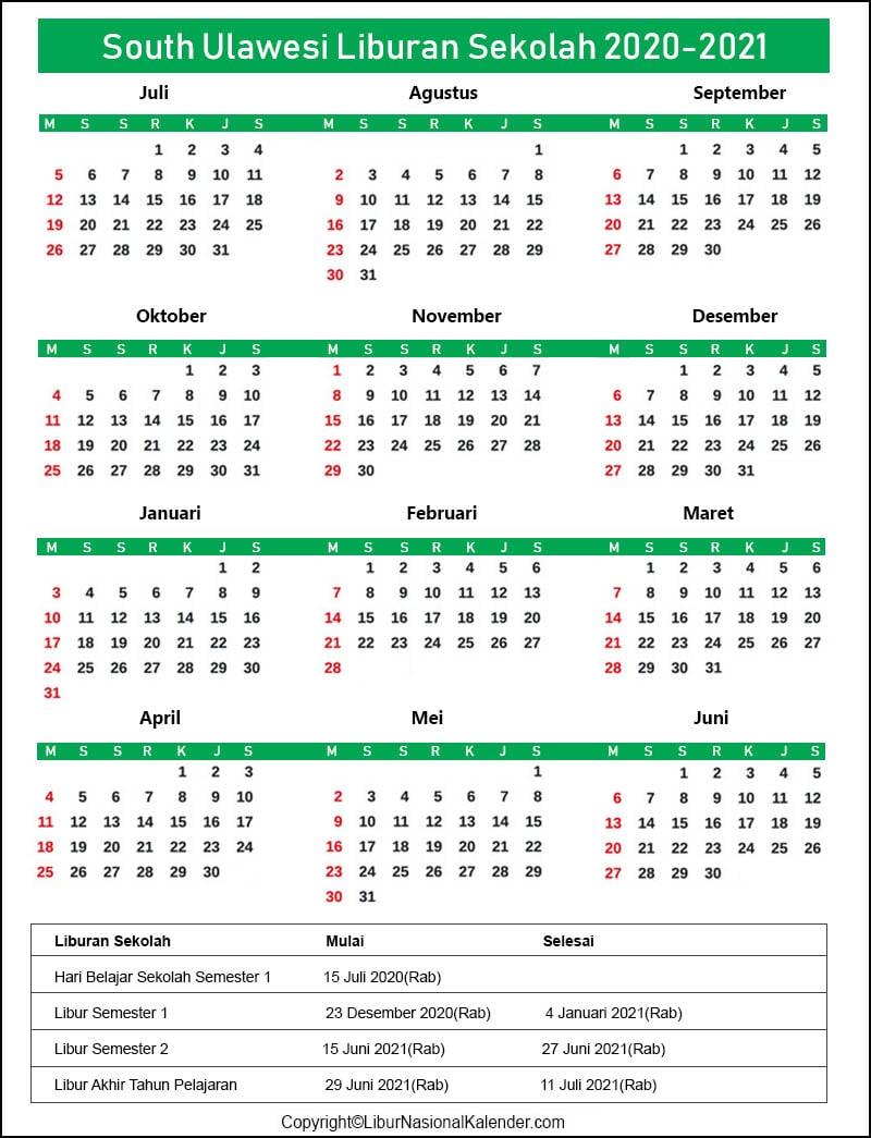 Kalender South Sulawesi 2020-2021 Dengan Libur Sekolah