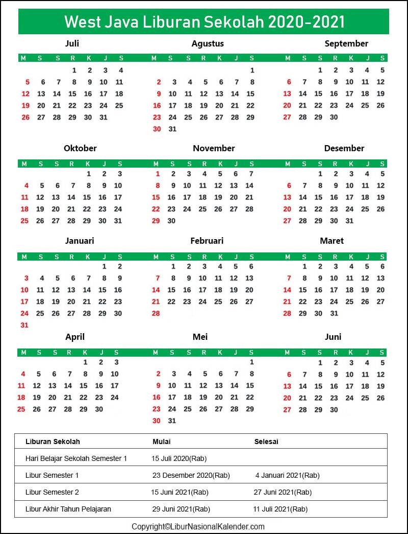 Kalender West Java 2020-2021 Dengan Libur Sekolah