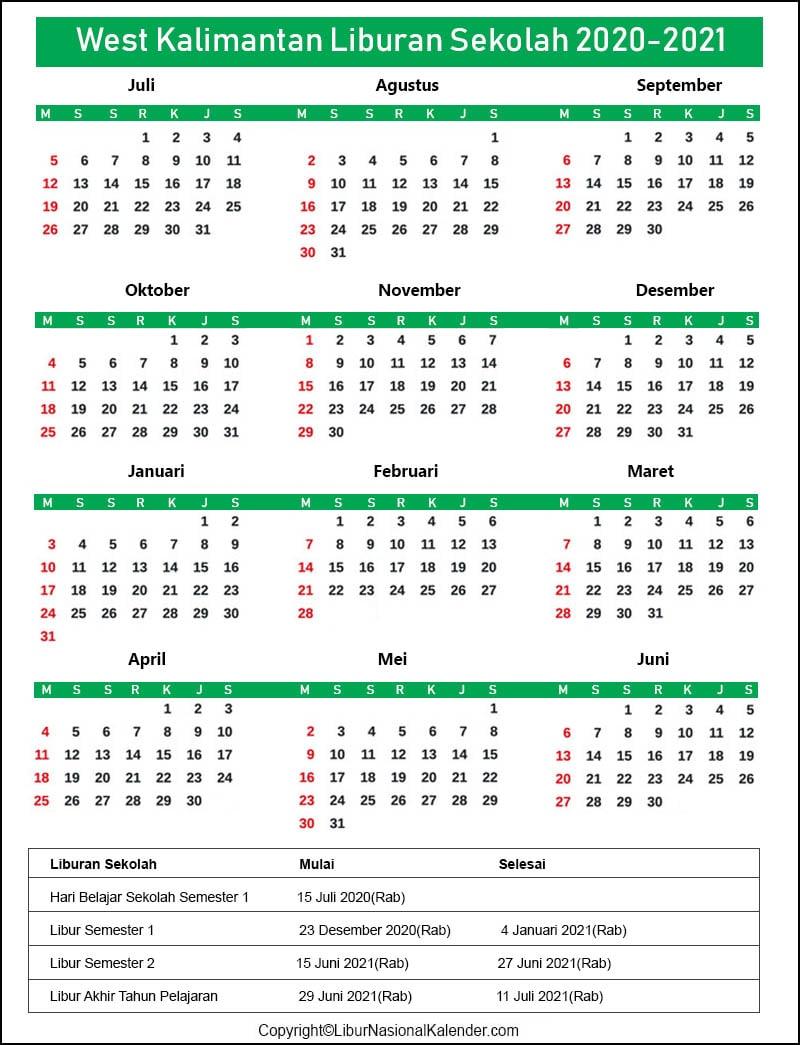 Kalender West Kalimantan 2020-2021 Dengan Libur Sekolah