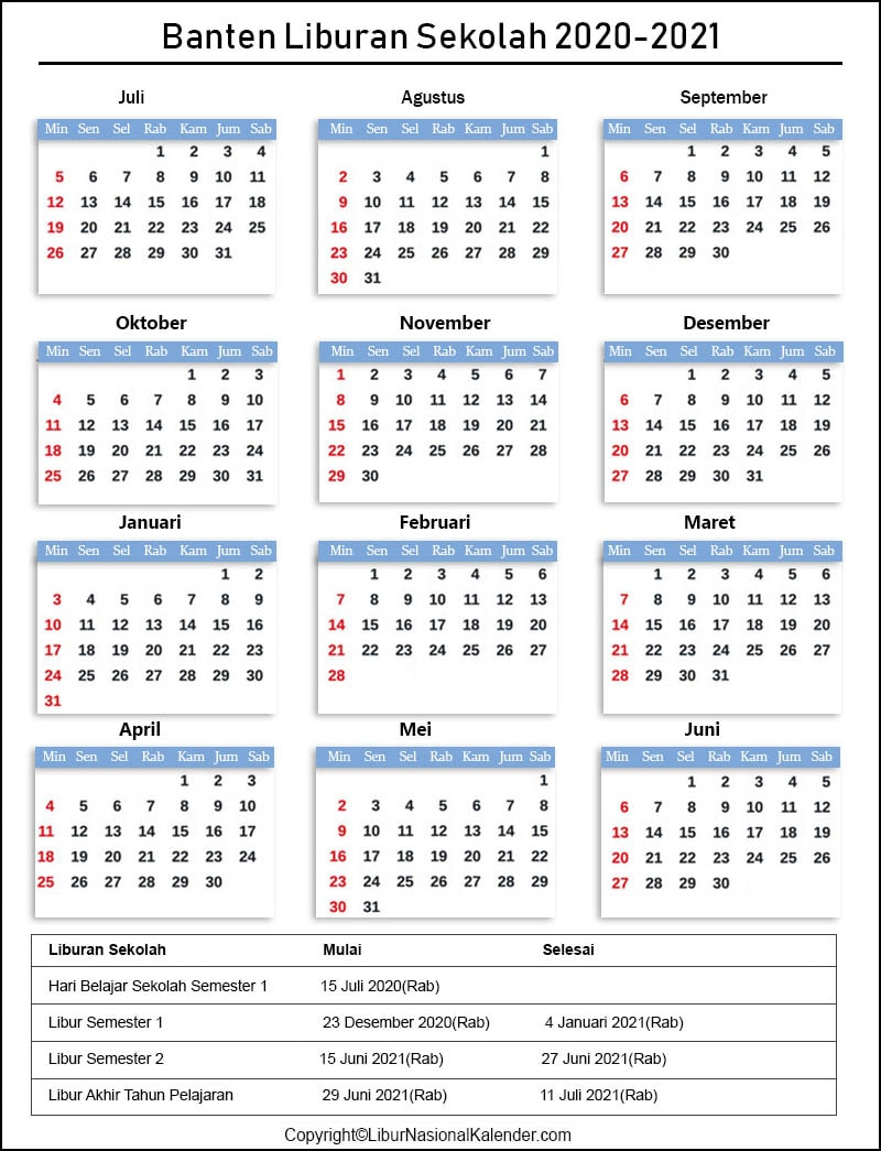 Liburan Sekolah Banten 2020-2021