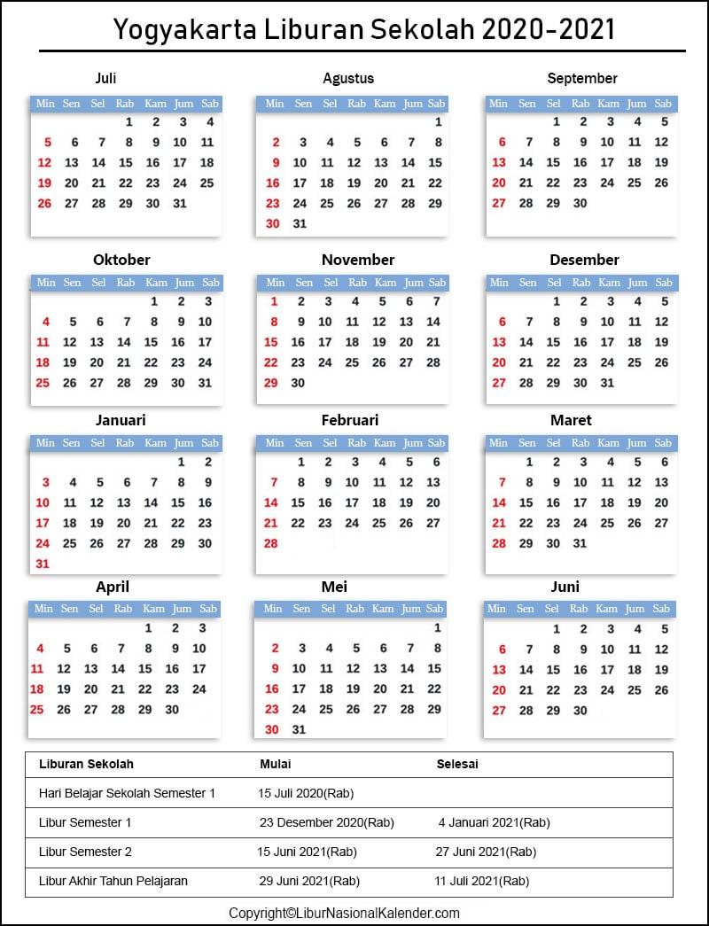Liburan Sekolah Yogyakarta 2020-2021 Indonesia