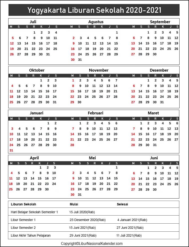 Liburan Sekolah Yogyakarta 2020-2021